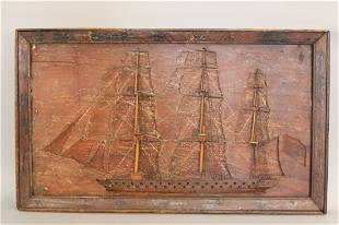 Rare, carved Ship of the Line
