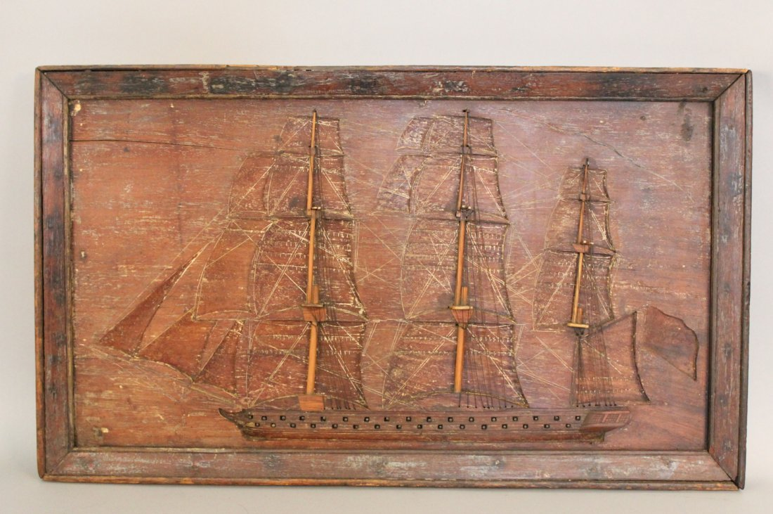 Rare, carved Ship of the Line