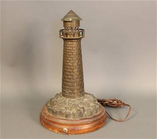 Solid brass electrified lighthouse