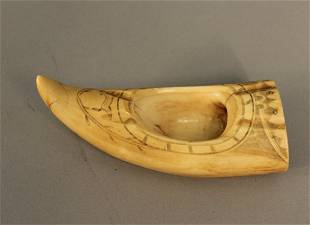 Whales tooth scrimshaw, 1843