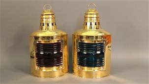 Pair of brass port and starboard lanterns