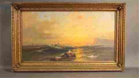 Monumental oil on canvas signed W. Bradford.