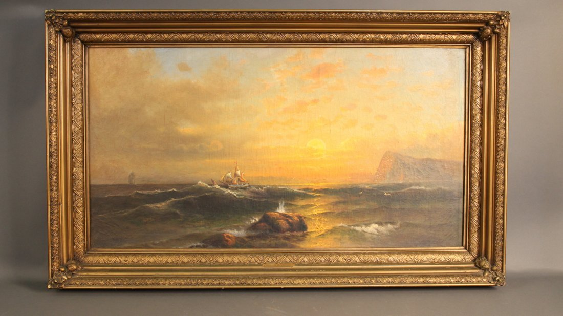 Monumental oil on canvas signed W. Bradford.
