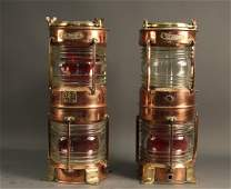 Pair of copper and brass ships lanterns