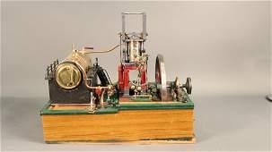 Ornate desk-top model of live steam power plant