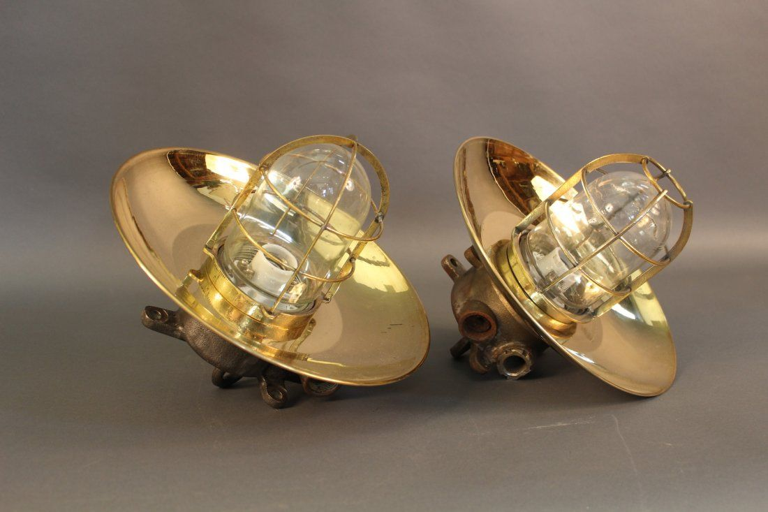 Pair of Iron and Brass cargo lights