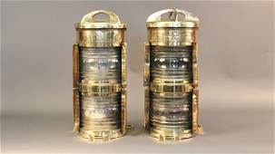 Pair of Large Brass Nautical Ships Lights