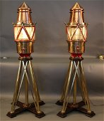 Pair of Copper and Brass Maritime Beacons