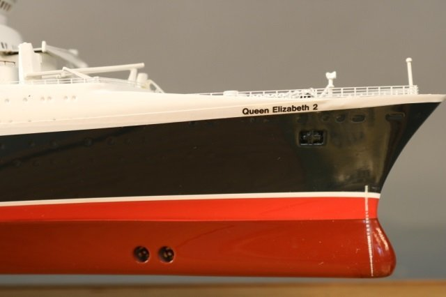 Cased Ship Model of Ocean Liner QE2