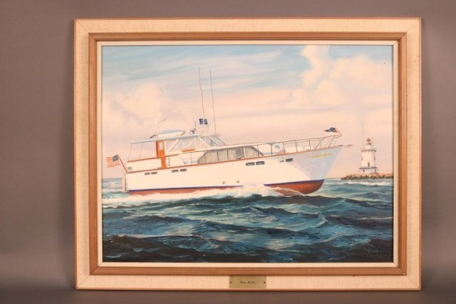 Oil On Canvas of Yacht Four Belles by Ray Crosby