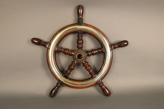 Varnished Five Spoke Ships Wheel from a Yacht