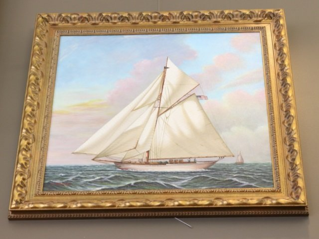 Oil on Canvas of a Gaff-Rigged Sloop