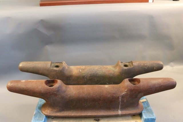 Pair of Heavy Iron Ships Docking Cleats