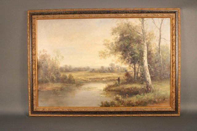 Oil on Canvas Painting of a Pastoral Countryside