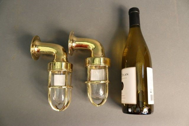 Pair of Solid Brass Ship's Lights