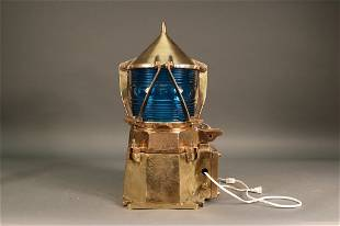 Solid Brass Marine Beacon Cobalt Lens