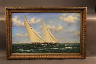 """Rainbow Leads Endeavour"" Oil Painting"