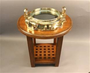 Solid Brass Ship Porthole Table