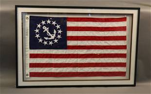 Cotton Yacht Ensign Flag in Shadow Box