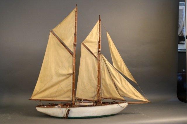 Antique Two-Masted Maine Schooner Model
