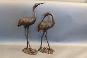 Pair Of Iron Herons For Garden