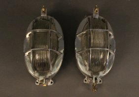 Pair Of Aluminum Ship's Bulkhead Lights