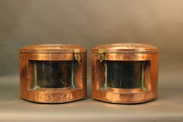 Pair of Solid Copper Ship Lanterns