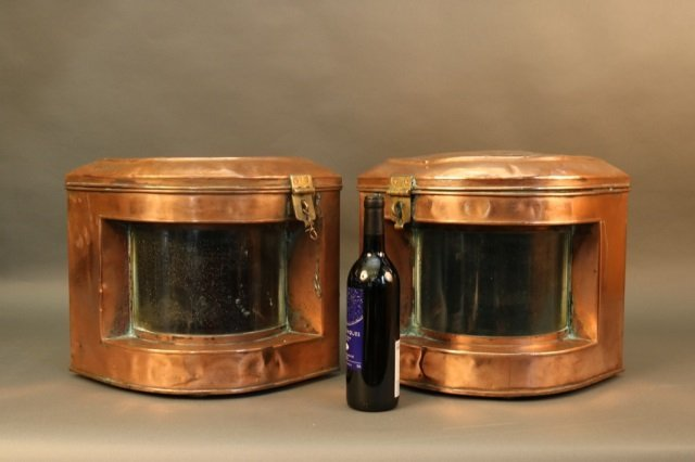 Pair of Solid Copper Ship Lanterns - 4