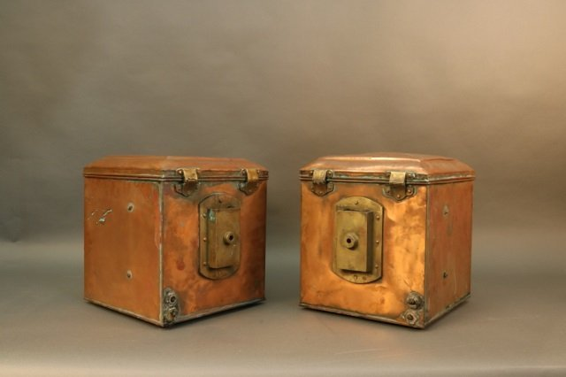 Pair of Solid Copper Ship Lanterns - 5