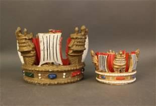 Lot of 2 Royal Navy Mast Crowns
