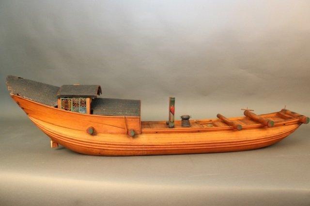 Antique Chinese Sampan Model - 7