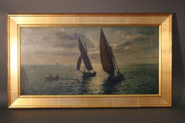 Two Yachts Sailing at Moonlight