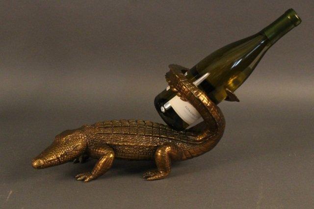 Cast Brass Alligator Wine Holder