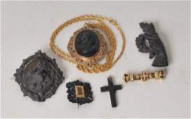6 Pcs. Victorian Mourning or Memento Jewelry