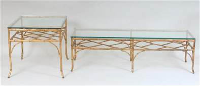 Set of 2 Gilt Metal Glass Top Decorator Tables