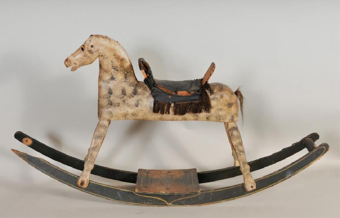 Carved & Painted Wood Child's Rocking Horse