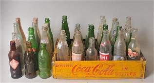 36 Vintage Soda Pop Bottles + Wood Coke Crate