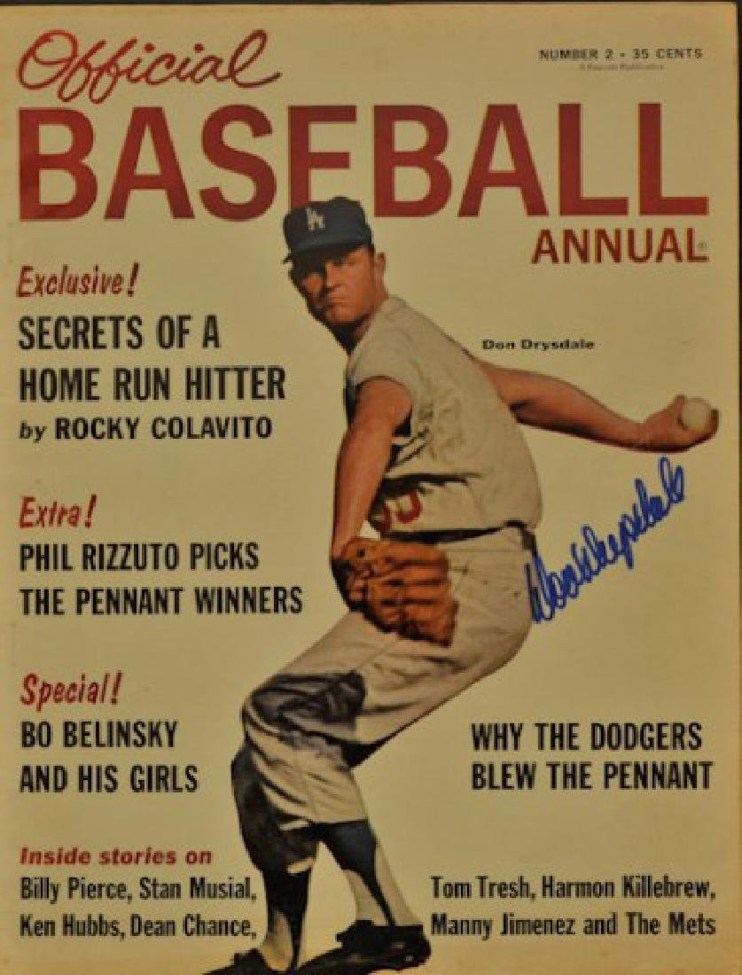 Signed Don Drysdale Official Baseball Annual