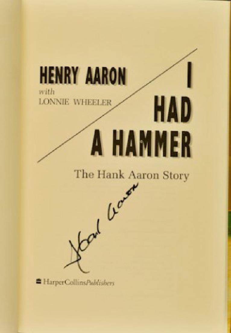"""Hank Aaron Signed Book """"I Had A Hammer"""" - 3"""