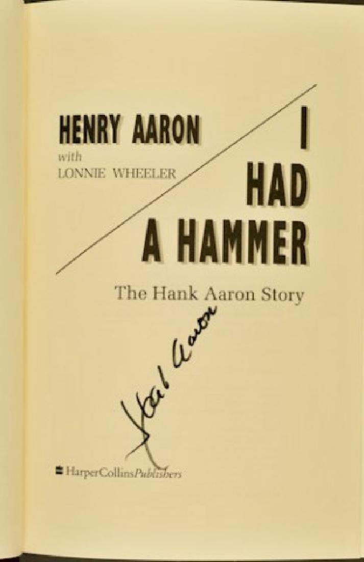"Hank Aaron Signed Book ""I Had A Hammer"" - 2"