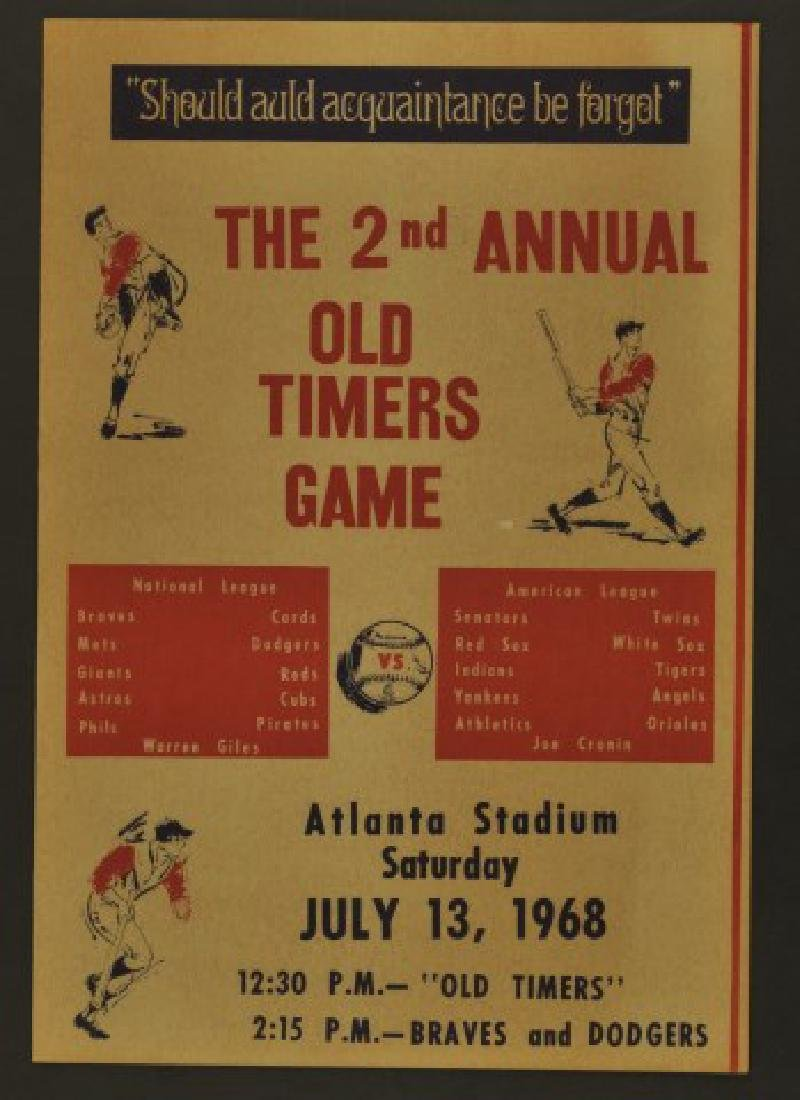 1968 Second Annual Old Timers Game Program
