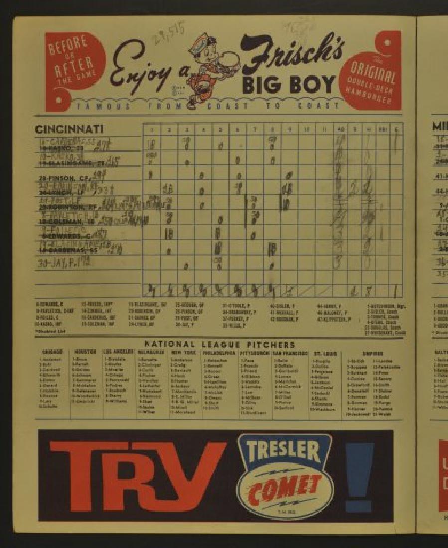 1962 Cincinnati Reds Official Scorecard - 2