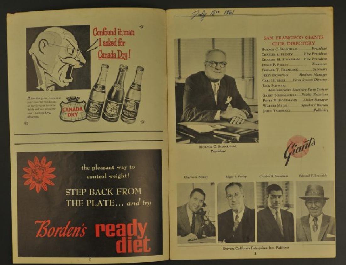 1961 Giants Official Scorecard - 2