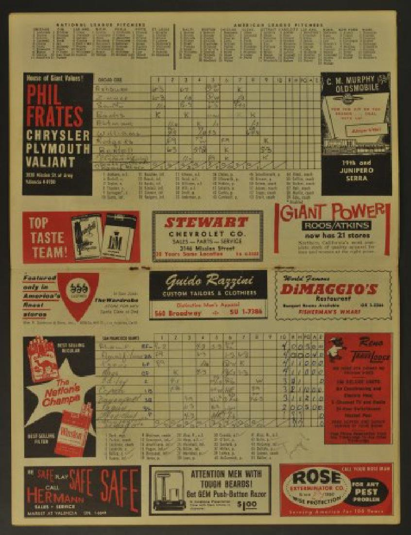 1961 Giants Official Scorecard - 3