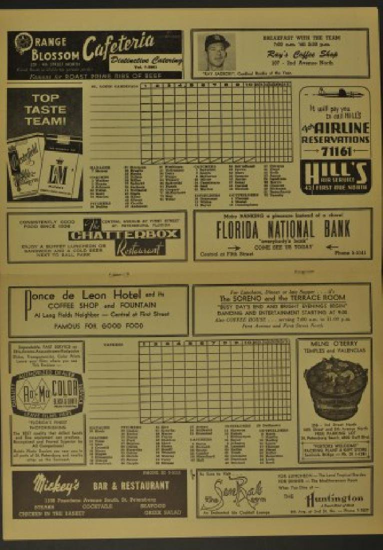 1961 Spring Training Yankees & Cardinals Scorebook - 2