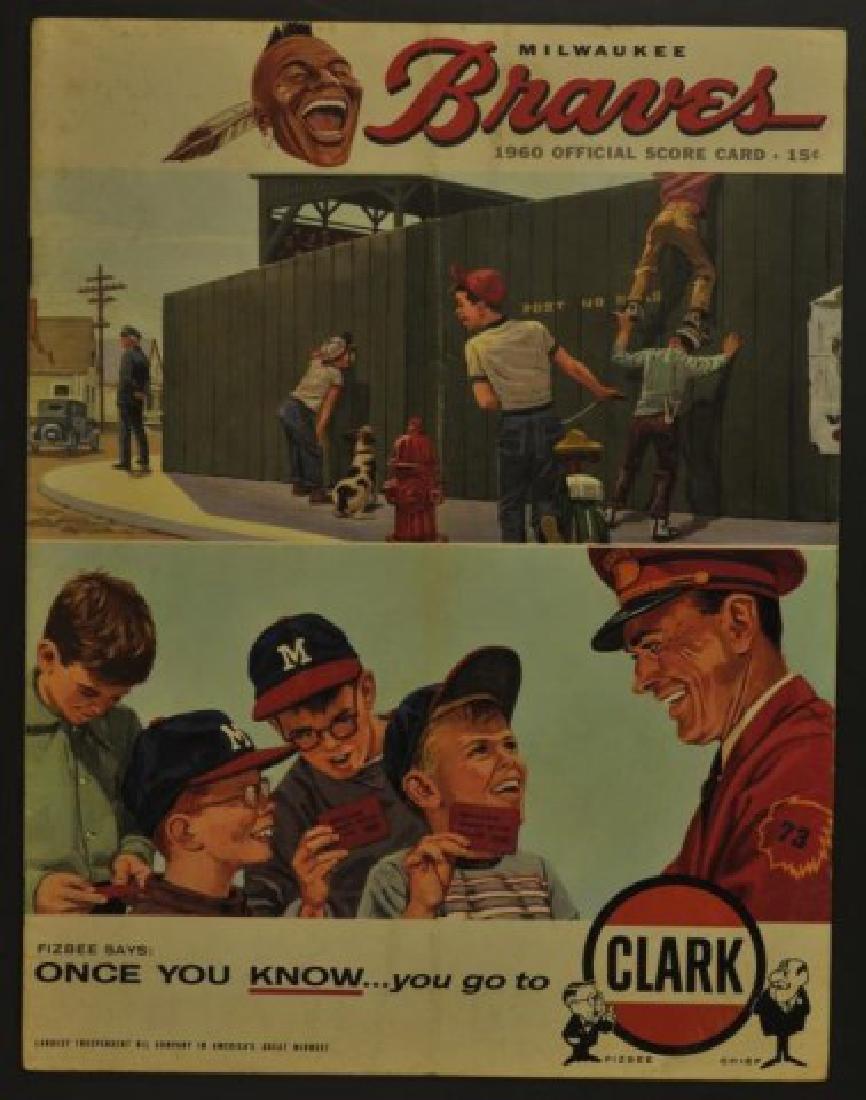 1960 Milwaukee Braves Official Scorecard