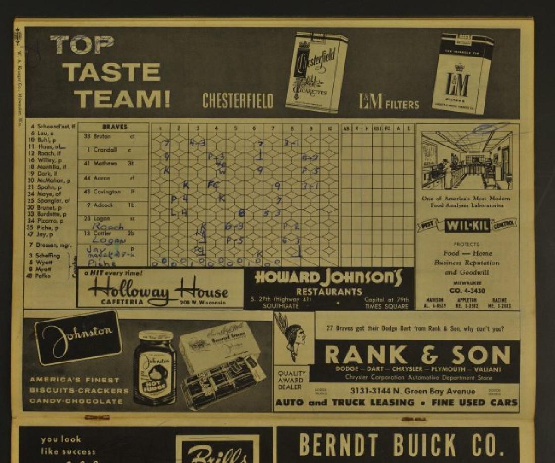 1960 Milwaukee Braves Official Scorecard - 2