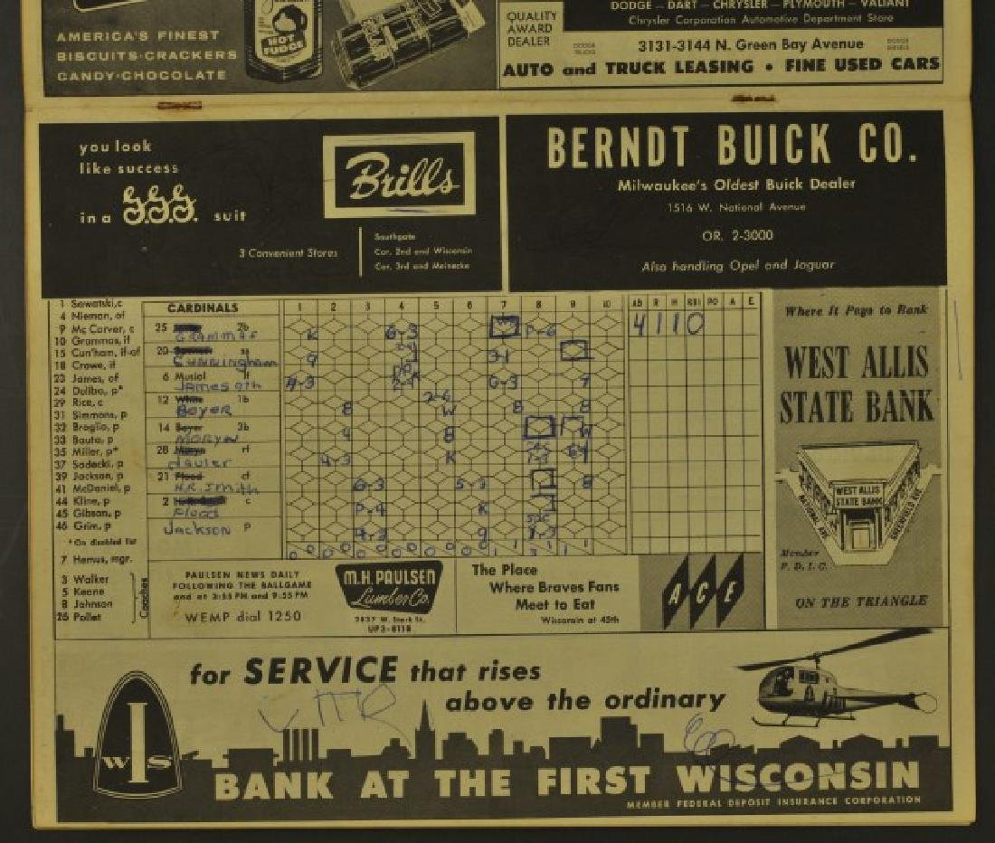 1960 Milwaukee Braves Official Scorecard - 3