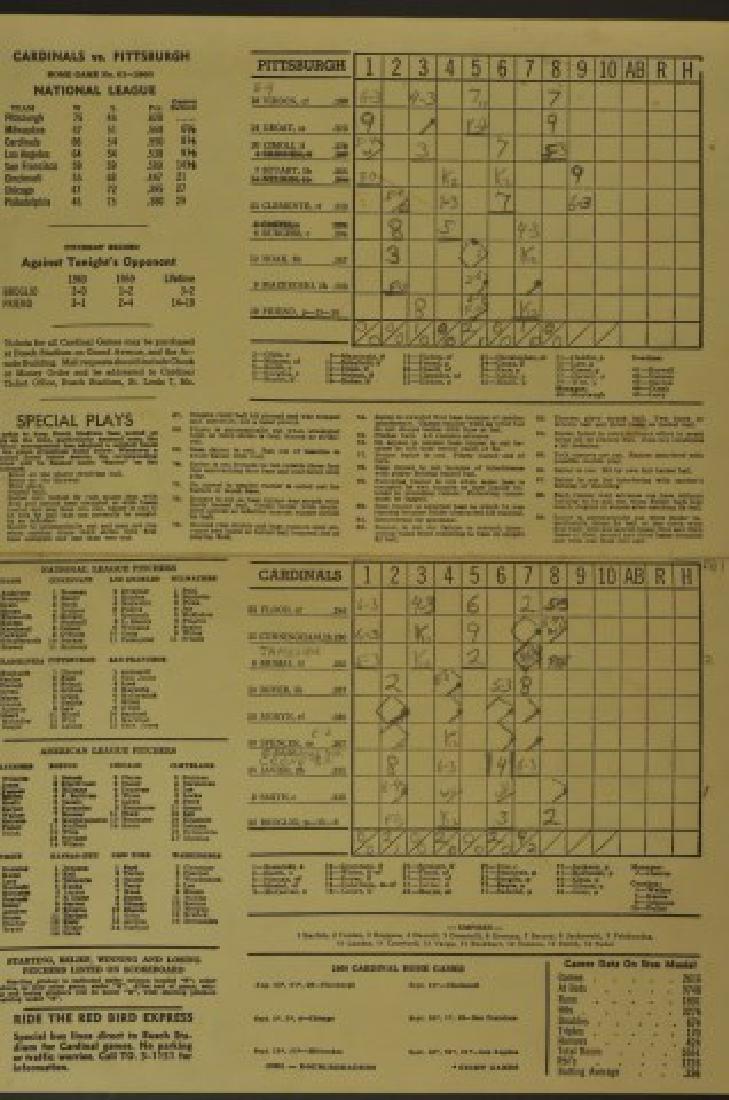 1960 Cardinals Official Scorecard - 2