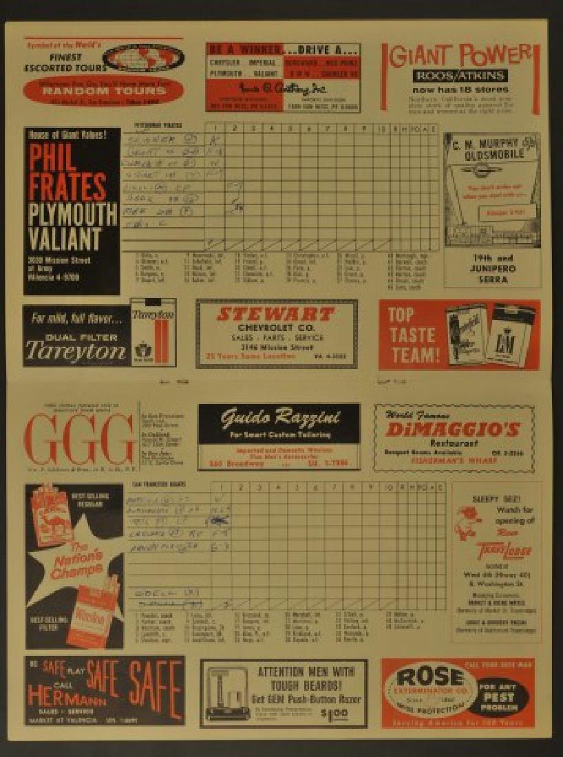 1960 Giants Official Scorecard - 2